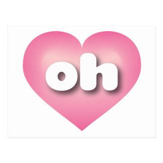 Ohio pink fade heart - mini love postcard