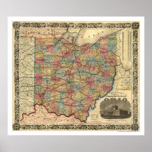 Ohio Railroad Map 1854 Poster