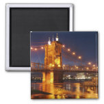 Ohio River Suspension Bridge 2 Inch Square Magnet