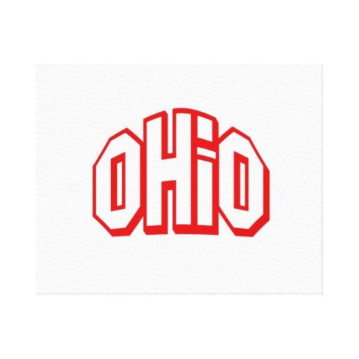 Ohio rojo impresiones en lona estiradas