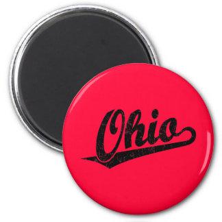 Ohio script logo in black distressed 2 inch round magnet
