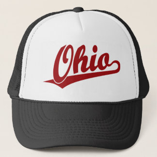 Ohio script logo in red trucker hat