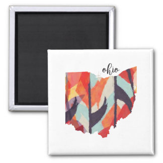 Ohio silhouette hand lettering magnet