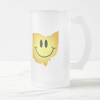 Ohio Smiley Face Frosted Glass Beer Mug