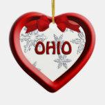 Ohio Snowflake Heart Christmas Ornament