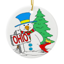Ohio Snowman Cardinal Ceramic Ornament