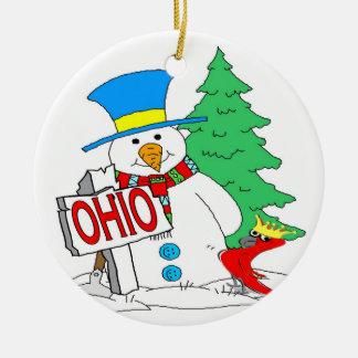 Ohio Snowman Cardinal Double-Sided Ceramic Round Christmas Ornament