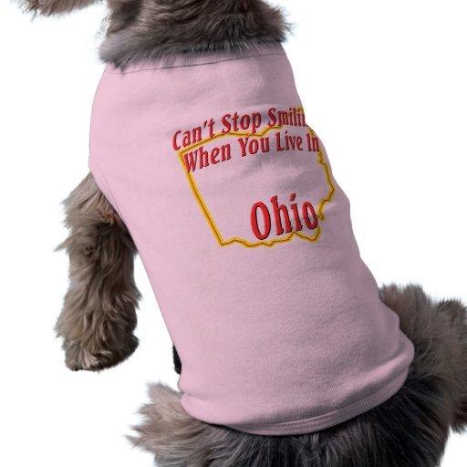 Ohio - sonriendo playera sin mangas para perro