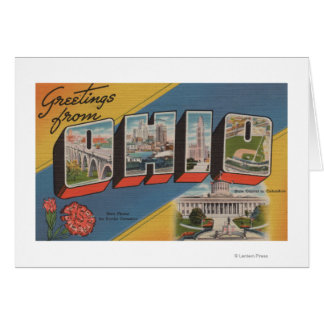Ohio (State Capital/Flower) - Large Letter Scene Greeting Card