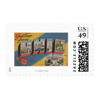 Ohio (State Capital/Flower) - Large Letter Scene Postage Stamp