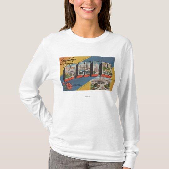 Ohio (State Capital/Flower) - Large Letter Scene T-Shirt