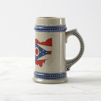 Ohio State Flag and Map Beer Stein