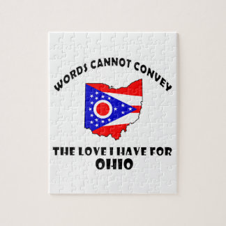 Ohio state flag and map designs jigsaw puzzle