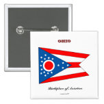 Ohio state flag and slogan pin