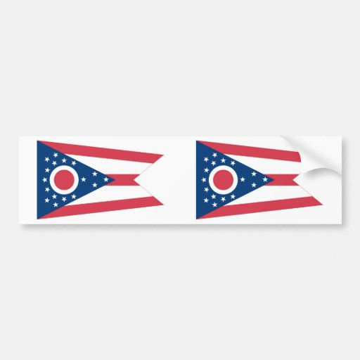 Ohio State Flag Car Bumper Sticker