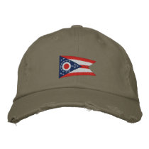 Ohio State Flag Design Embroidered Baseball Hat