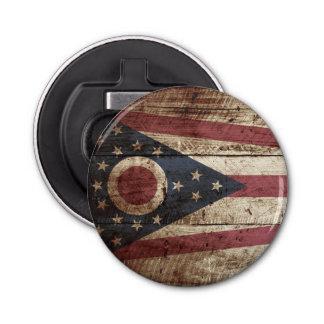 Ohio State Flag on Old Wood Grain Bottle Opener
