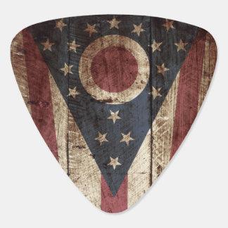 Ohio State Flag on Old Wood Grain Guitar Pick