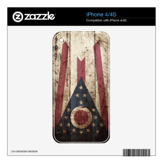 Ohio State Flag on Old Wood Grain iPhone 4 Skins