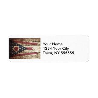 Ohio State Flag on Old Wood Grain Label