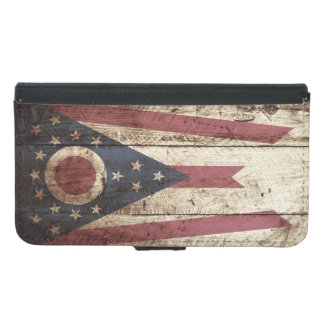 Ohio State Flag on Old Wood Grain Wallet Phone Case For Samsung Galaxy S5