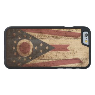 Ohio State Flag on Old Wood Grain Carved® Maple iPhone 6 Case
