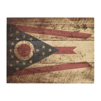 Ohio State Flag on Old Wood Grain Wood Wall Decor
