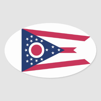 Ohio State Flag Oval Sticker