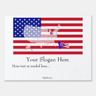 Ohio State Flag USA Map Vote yard sign