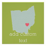 Ohio State Map Outline with Custom Heart & Text Print