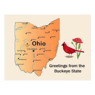 Ohio The Buckeye State Cleveland Cincinnati State Map Postcard Columbus etc
