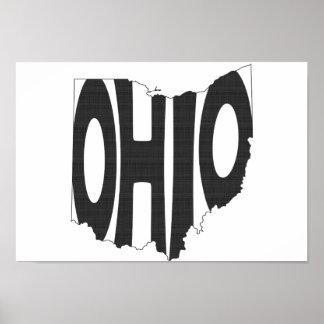 Ohio State Name Word Art Black Poster