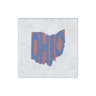 Ohio State Name Word Art Blue Stone Magnet