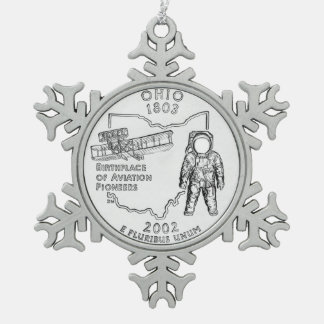 Ohio State Quarter Snowflake Pewter Christmas Ornament