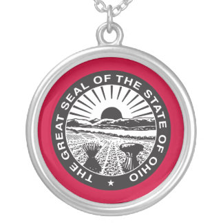Ohio State Seal Silver Necklace (Red)