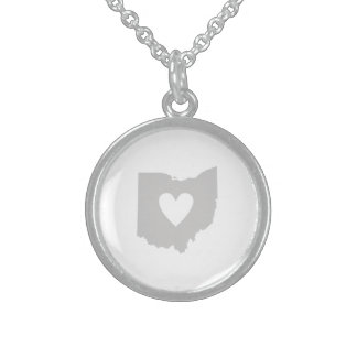 Ohio State Shape with Heart Sterling Silver Necklace
