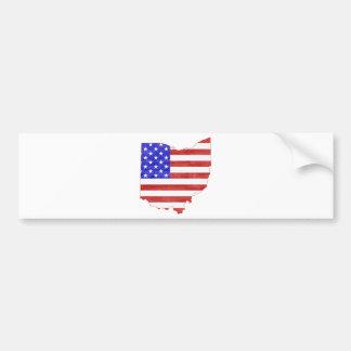 Ohio state shaped USA flag Bumper Sticker