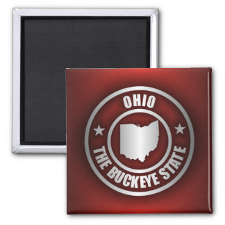 Ohio Steel (Red) 2 Inch Square Magnet