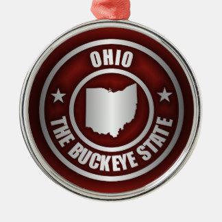 Ohio Steel (Red) Round Metal Christmas Ornament