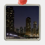 Ohio Street Beach in downtown Chicago at night, Christmas Tree Ornament
