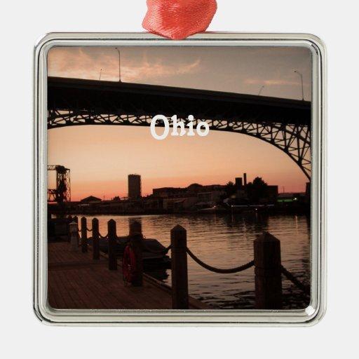 Ohio Sunset Square Metal Christmas Ornament