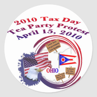 Ohio Tax Day Tea Party Protest Round Stickers