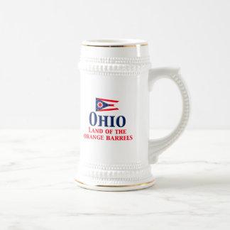 Ohio - tierra de barriles anaranjados jarra de cerveza