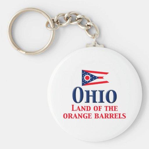 Ohio - tierra de barriles anaranjados llavero redondo tipo pin