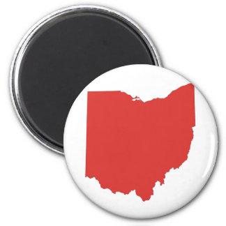 Ohio - un estado ROJO Imán Redondo 5 Cm