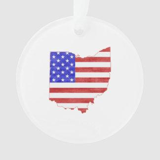 Ohio USA flag silhouette state map Ornament
