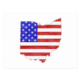Ohio USA flag silhouette state map Postcard