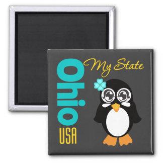 Ohio USA Penguin 2 Inch Square Magnet