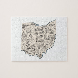 Ohio Vintage Picture Map Jigsaw Puzzle