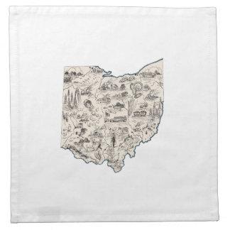 Ohio Vintage Picture Map Napkin